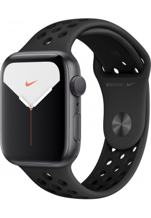 APPLE WATCH 5 NIKE 44mm GPS  ALUMINUM CASE WITH BLACK SPORT BAND EU (MX3W2)