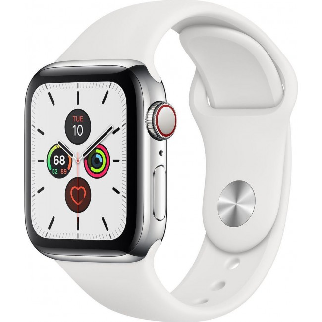 APPLE WATCH 5 40mm GPS+CELLULAR SILVER ALUMINUM WITH WHITE BAND EU (MWX12)