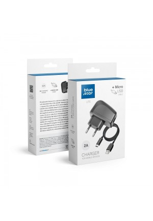 Blue Star micro USB Cable & Wall Adapter Μαύρο 2A Lite (5901737411556)