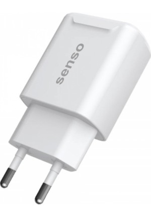 TRAVEL CHARGER SENSO 2 USB PORTS 2.1A WHITE