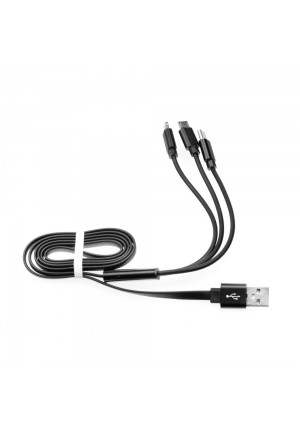 CABLE 3 IN 1 MICRO USB + LIGHTNING 8 PIN + TYPE C BLACK HD6