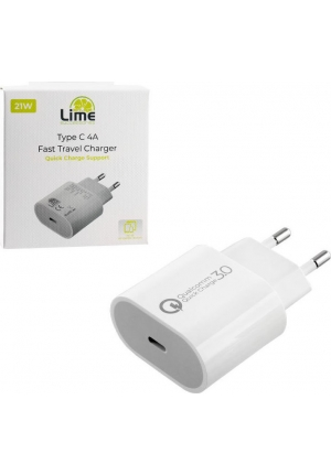 Lime USB-C Wall Adapter Λευκό 3.0 21W 4000mA (LTC14) Volte-Tel