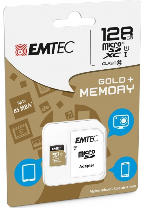 MICRO SD EMTEC (WITH ADAPTOR) 128GB GOLD+ XC CLASS 10 (ECMSDM128GXC10GP)