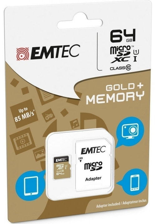 EMTEC MICRO SD (WITH ADAPTOR) 64GB GOLD+ XC CLASS 10 (ECMSDM64GXC10GP)