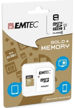 MICRO SD EMTEC (WITH ADAPTOR) 8GB GOLD+ HC CLASS 10 (ECMSDM8GHC10GP)