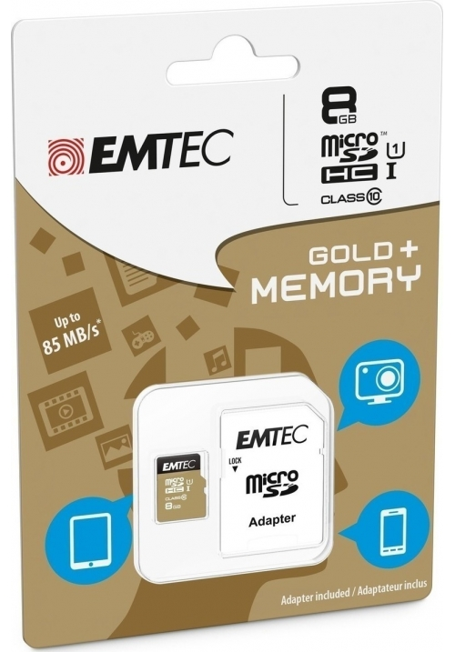 EMTEC MICRO SD (WITH ADAPTOR) 8GB GOLD+ HC CLASS 10 (ECMSDM8GHC10GP)