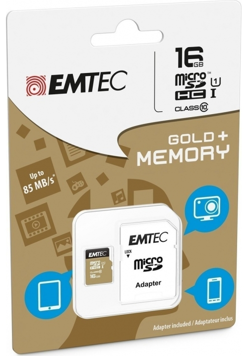 EMTEC MICRO SD (WITH ADAPTOR) 16GB GOLD+ HC CLASS 10 (ECMSDM16GHC10GP)