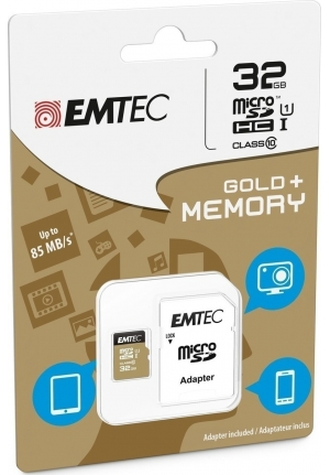 MICRO SD EMTEC (WITH ADAPTOR) 32GB GOLD+ HC CLASS 10 (ECMSDM32GHC10GP)