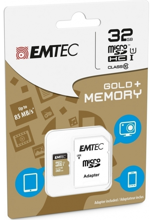 EMTEC MICRO SD (WITH ADAPTOR) 32GB GOLD+ HC CLASS 10 (ECMSDM32GHC10GP)