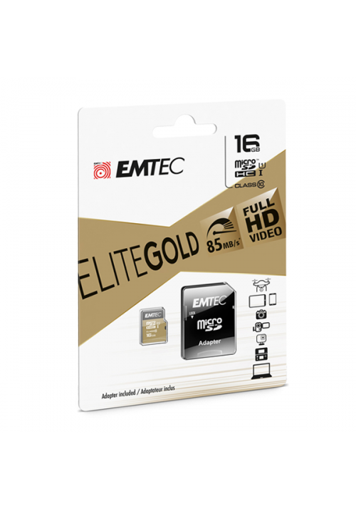 MICRO SD EMTEC (WITH ADAPTOR) 16GB GOLD+ HC CLASS 10 (ECMSDM16GHC10GP)