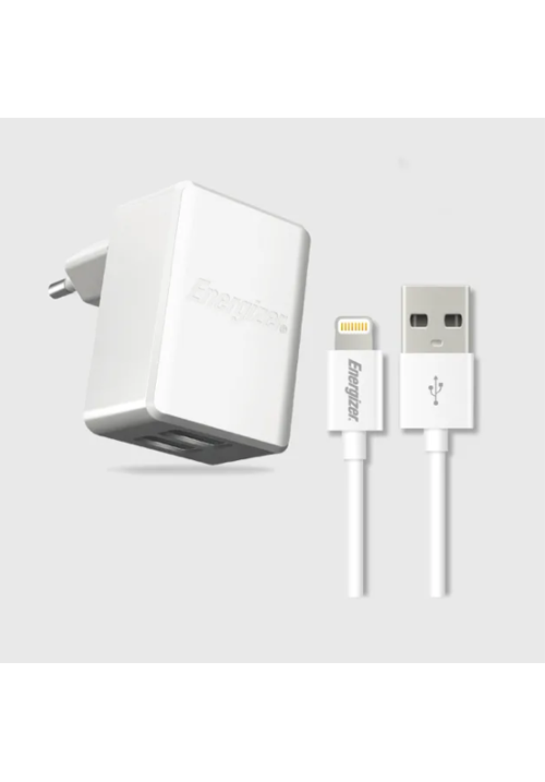 Energizer Lightning Cable & Wall Charger 2 USB 3.4A White (ACA2CEUULI3)