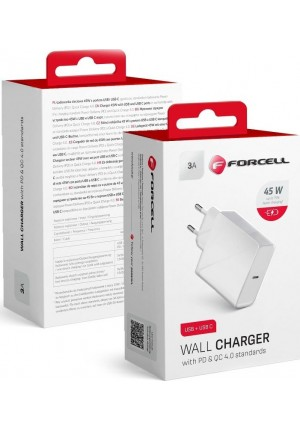 FORCELL TRAVEL CHARGER USB-C SOCKET 3A 45W WITH PD AND QC 4.0 FUNCTION (5903396040962)