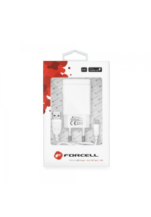 Forcell USB Type C Cable & Wall Adapter 2.4A Quick Charge 3.0 White
