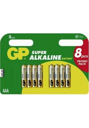 GP SUPER ALKALINE BATTERIES AAA LR03 4+4 (8 τμχ)