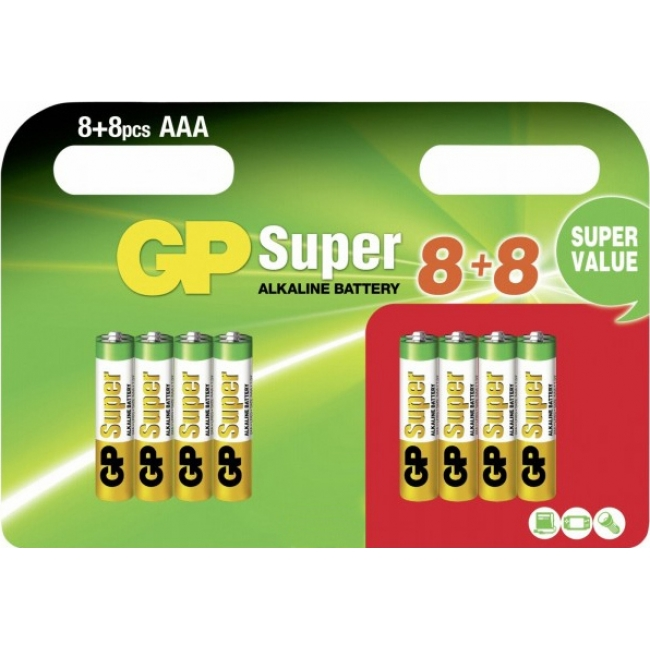 GP SUPER ALKALINE AAA LR03 (8+8 τμχ)
