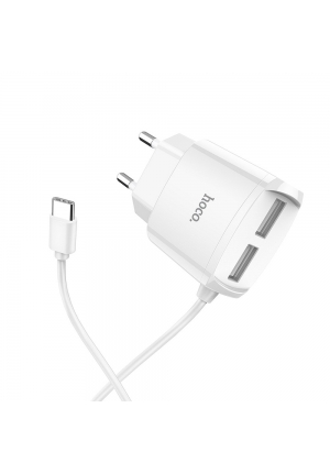 Hoco USB-C & 2x USB Wall Charger Mega joy Λευκό 2.1A (C59)