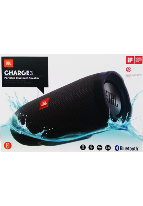 JBL CHARGE 3 BLUETOOTH WIRELESS SPEAKER BLACK (ΜΕ ΑΝΤΑΠΤΟΡΑ)