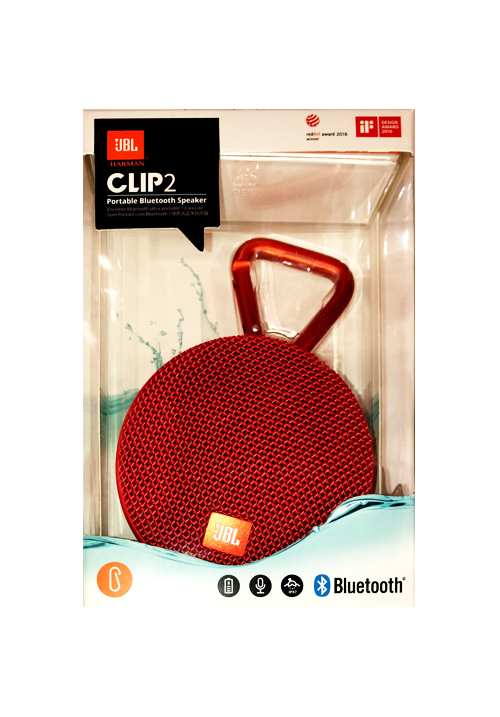 JBL CLIP 2 PORTABLE BLUETOOTH SPEAKER RED