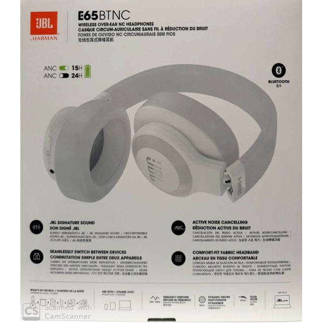 JBL E65BTNC BLUETOOTH HEADPHONES WHITE