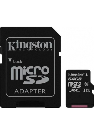 MICRO SDXC KINGSTON 64GB WITH ADAPTER SDC10G2/64GB