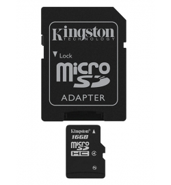 MICRO SDHC KINGSTON 16GB CLASS 4 SDC4/16GB WITH ADAPTER