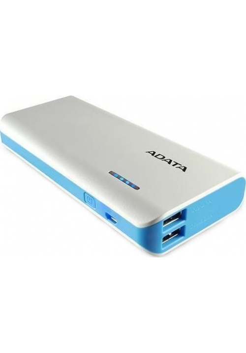 POWER BANK ADATA PT100 WHITΕ/BLUE APT100-10000M-5V-CWHBL
