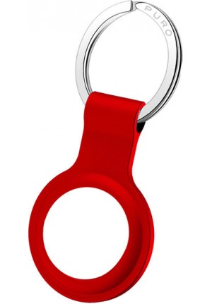 """KEYCHAIN PURO """"ICON"""" LIQUID SILICON FOR APPLE AIRTAG WITH CARABINER RED ATICON1RED"""