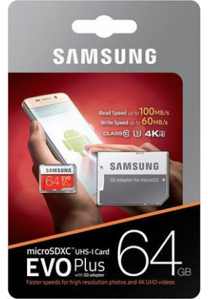 MICRO SDXC SAMSUNG U3 64GB EVO PLUS (WITH ADAPTOR)  (MB-MC64GA/EU)