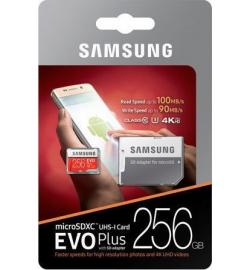 MICRO SDXC SAMSUNG U3 256GB EVO PLUS CLASS 10 (WITH ADAPTOR) (MB-MC256GA)