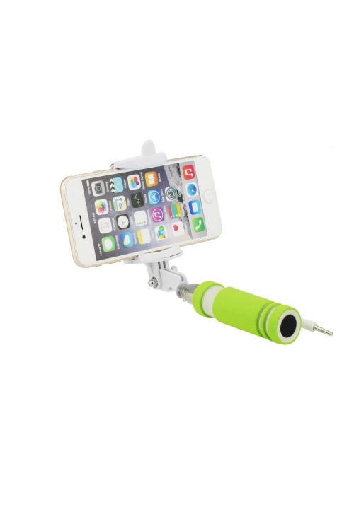 SELFIE STICK BLUN MINI WITH CABLE JACK 3.5mm GREEN