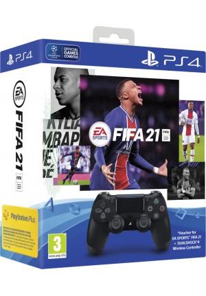 Sony DualShock 4 Controller Black V2 & FIFA 21