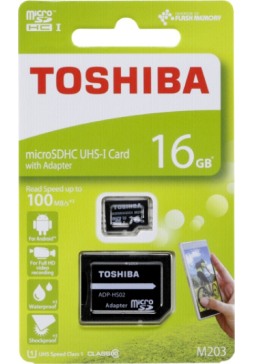 MICRO SDHC TOSHIBA M203 EXCERIA 16GB (WITH ADAPTOR) THN-M203K016