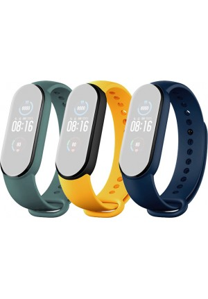 STRAP FOR XIAOMI MI SMARTBAND 5 3-PACK BLUE - YELLOW - MINT BHR4640GL