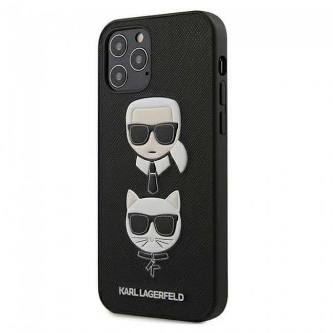 ΘΗΚΗ ΓΙΑ APPLE IPHONE 12/12 PRO KARL LAGERFELD FACEPLATE BLACK (KLHCP12MSAKICKCBK)
