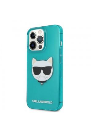 ΘΗΚΗ ΓΙΑ APPLE IPHONE 13 PRO FACEPLATE KARL LAGERFELD KLHCP13LCHTRB BLUE CLEAR FLUO