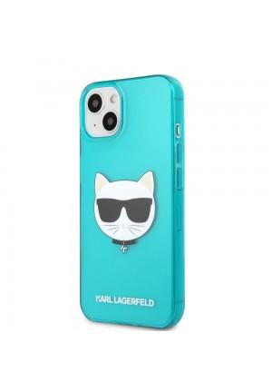 ΘΗΚΗ ΓΙΑ APPLE IPHONE 13 FACEPLATE KARL LAGERFELD KLHCP13MCHTRB BLUE CLEAR FLUO