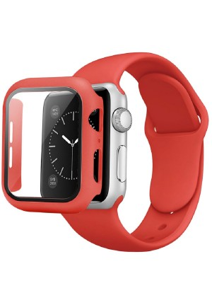 CASE AND STRAP FOR APPLE WATCH 44mm RED
