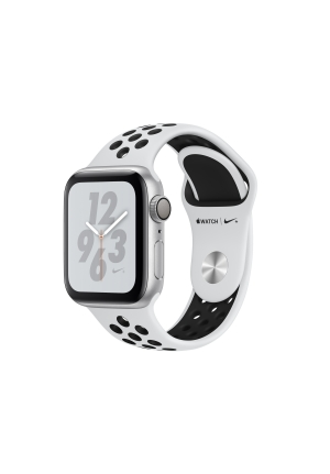 APPLE WATCH 4 NIKE+ 40mm GPS SILVER ALUMINIUM BLACK SPORT BAND MU6H2