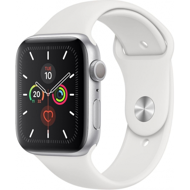 APPLE WATCH 5 44mm GPS SILVER ALUMINUM WITH WHITE SPORT BAND EU (MWVD2)