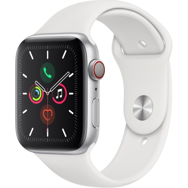 APPLE WATCH 5 44mm GPS+CELLULAR SILVER ALUMINUM WITH WHITE SPORT BAND EU (MWWC2)