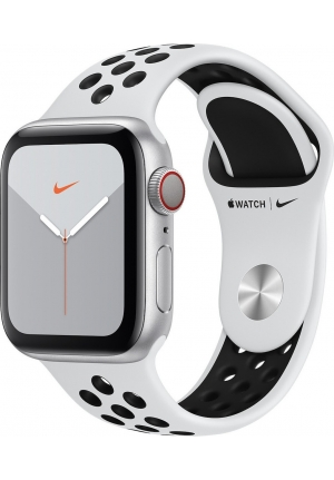 APPLE WATCH 5 NIKE 40mm GPS+CELLULAR SILVER ALUMINUM WITH BLACK SPORT BAND EU (MX3C2)