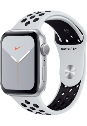 APPLE WATCH 5 NIKE 44mm GPS SILVER ALUMINUM CASE SPORT BAND BLACK (MX3V2)