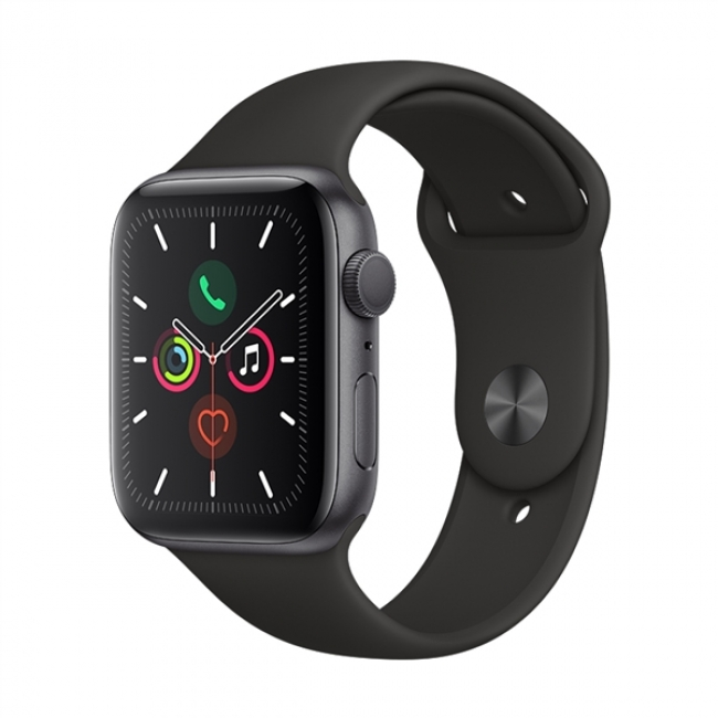 APPLE WATCH 5 44mm GPS SPACE GREY ALUMINUM WITH BLACK SPORT BAND EU (MWVF2)