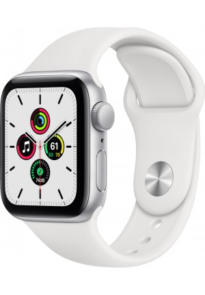 APPLE WATCH SE 44mm GPS SILVER/WHITE SPORT BAND MYDQ2 EU