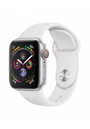 APPLE WATCH 4 40mm GPS+CELLULAR SILVER ALUMINIUM WITH WHITE SPORT BAND MTVA2 EU
