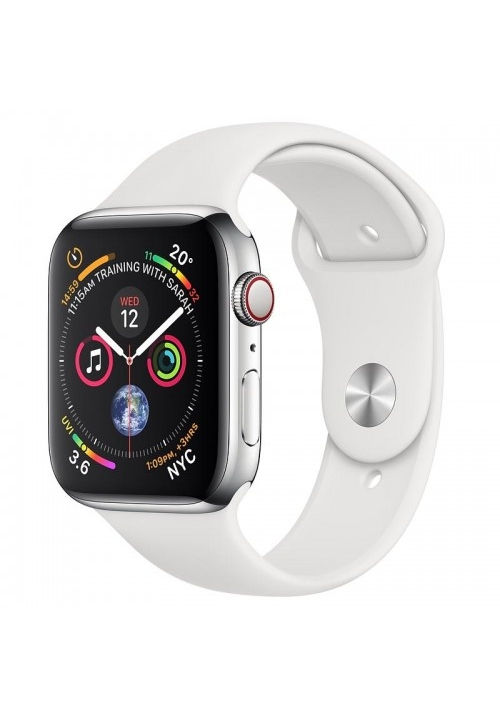 APPLE WATCH 4 40mm GPS+CELLULAR STAINLESS STEEL WITH WHITE SPORT BAND MTVJ2 EU