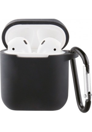 ΘΗΚΗ ΓΙΑ APPLE AIRPODS VIVANCO SILICONE WITH CARABINER BLACK (61646)