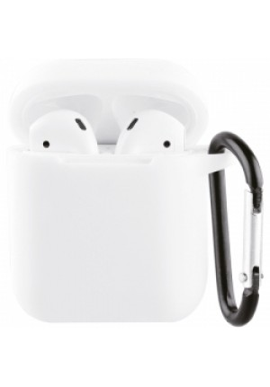 ΘΗΚΗ ΓΙΑ APPLE AIRPODS VIVANCO SILICONE WITH CARABINER WHITE (61647)