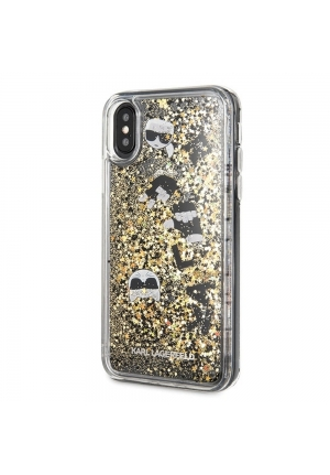 Θήκη για Apple Iphone X / XS FacePlate Karl Lagerfeld Black Gold (KLHCPXROGO)