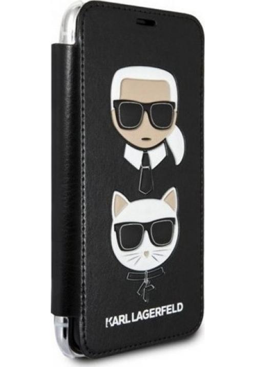Θήκη για Apple Iphone XS Max FacePlate Karl Lagerfeld Black (KLFLBKI65KICKC)
